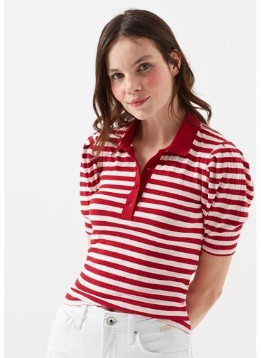 Mavi Kadın  Çizgili  Polo Tişört 168789-31535 Kırmızı